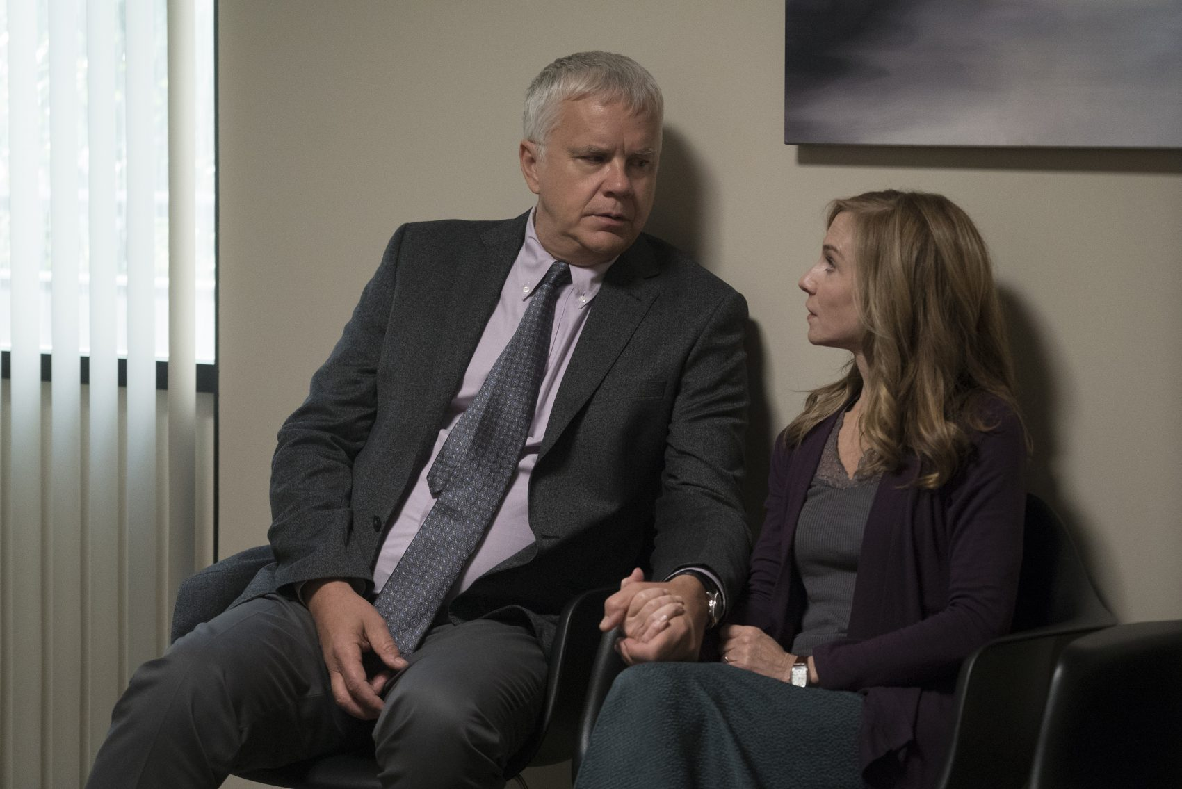"Tim Robbins and Holly Hunter in the HBO show ""Here and Now."" (Ali Paige Goldstein/HBO)"