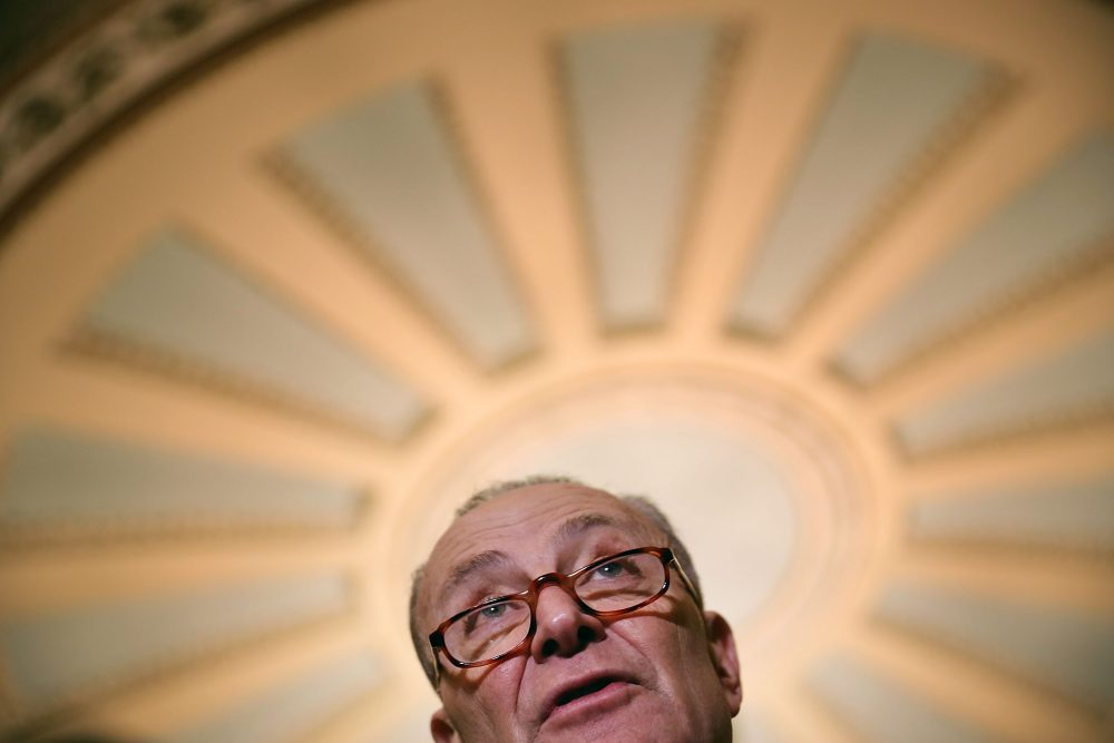 Senate Minority Leader Chuck Schumer (D-N.Y.) talks with reporters during a news conference at the U.S. Capitol on Feb. 6, 2018 in Washington, D.C. Senate Republicans and Democrats announced they have made progress on reaching an agreement to fund the federal government. (Chip Somodevilla/Getty Images)