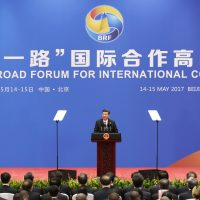 Chinese President Xi Jinping attends a news conference at the end of the Belt and Road Forum for International Cooperation on May 15, 2017 in Beijing, China. The forum was expected to lay the groundwork for Beijing-led infrastructure initiatives aimed at connecting China with Europe, Africa and Asia. (Jason Lee-Pool/Getty Images)