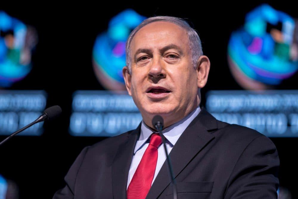 Israeli Prime Minister Benjamin Netanyahu speaks during the Muni World conference in Tel Aviv on Feb. 14, 2018. (Jack Guez/AFP/Getty Images)