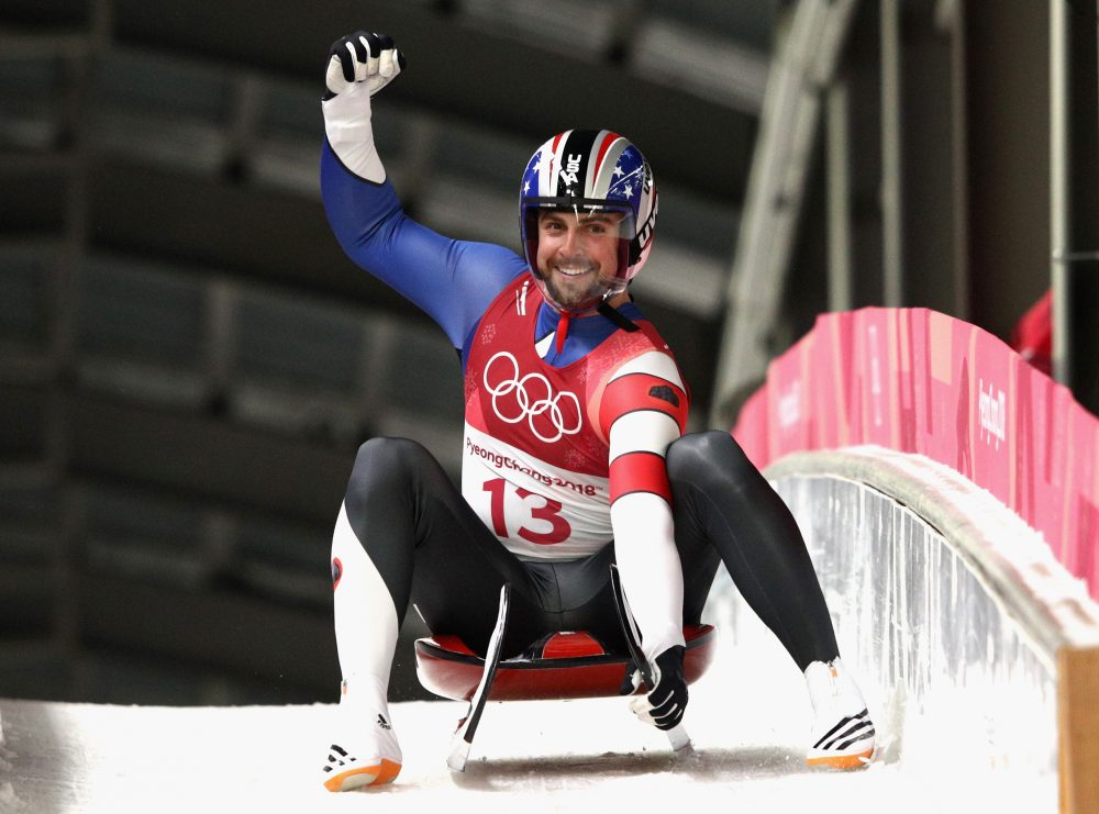 Chris Mazdzer celebrated a silver medal in the 2018 Winter Olympics, but it's his relationship with a Russian luger that caught Bill Littlefield's eye. (Adam Pretty/Getty Images)
