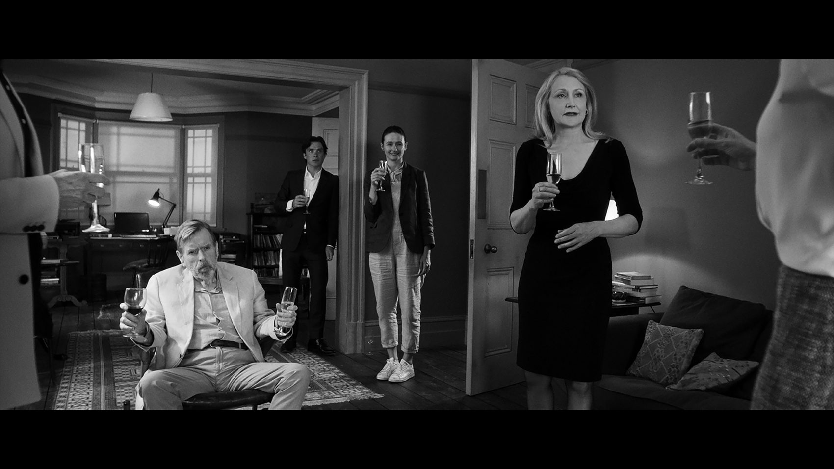 "(Left to right) Actors Timothy Spall, Cillian Murphy, Emily Mortimer, and Patricia Clarkson in ""The Party."" (Courtesy of Roadside Attractions)"