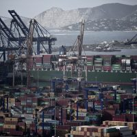 Greece's largest port in Piraeus, near Athens, in 2015. (Angelos Tzortzinis/AFP/Getty Images)
