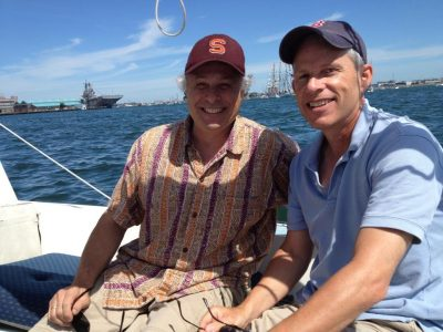 Chip Fanelli, left, and Chris Allen, sit together on a boat. (Courtesy Cory Fanelli)