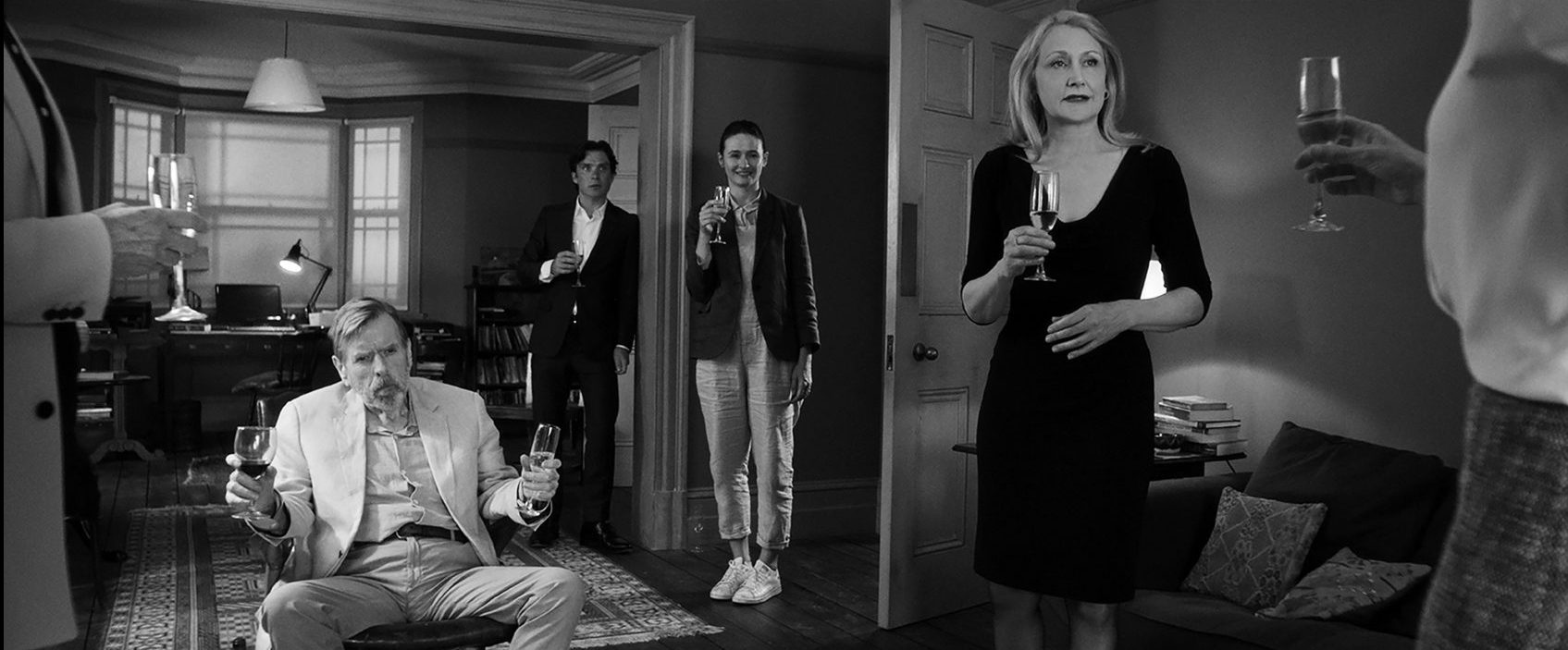 "Timothy Spall, Cillian Murphy, Emily Mortimer and Patricia Clarkson in ""The Party."" (Courtesy Roadside Attractions)"