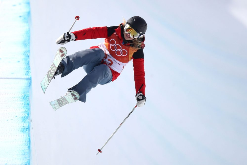 Elizabeth Swaney of Hungary competes during the women's halfpipe at the Pyeongchang Winter Olympic Games at Phoenix Snow Park on Feb. 19, 2018 in Pyeongchang, South Korea. (Cameron Spencer/Getty Images)