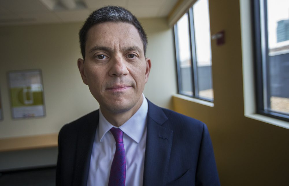 David Milliband, president of the International Rescue Committee and a British Labour Party politician. (Jesse Costa/WBUR)