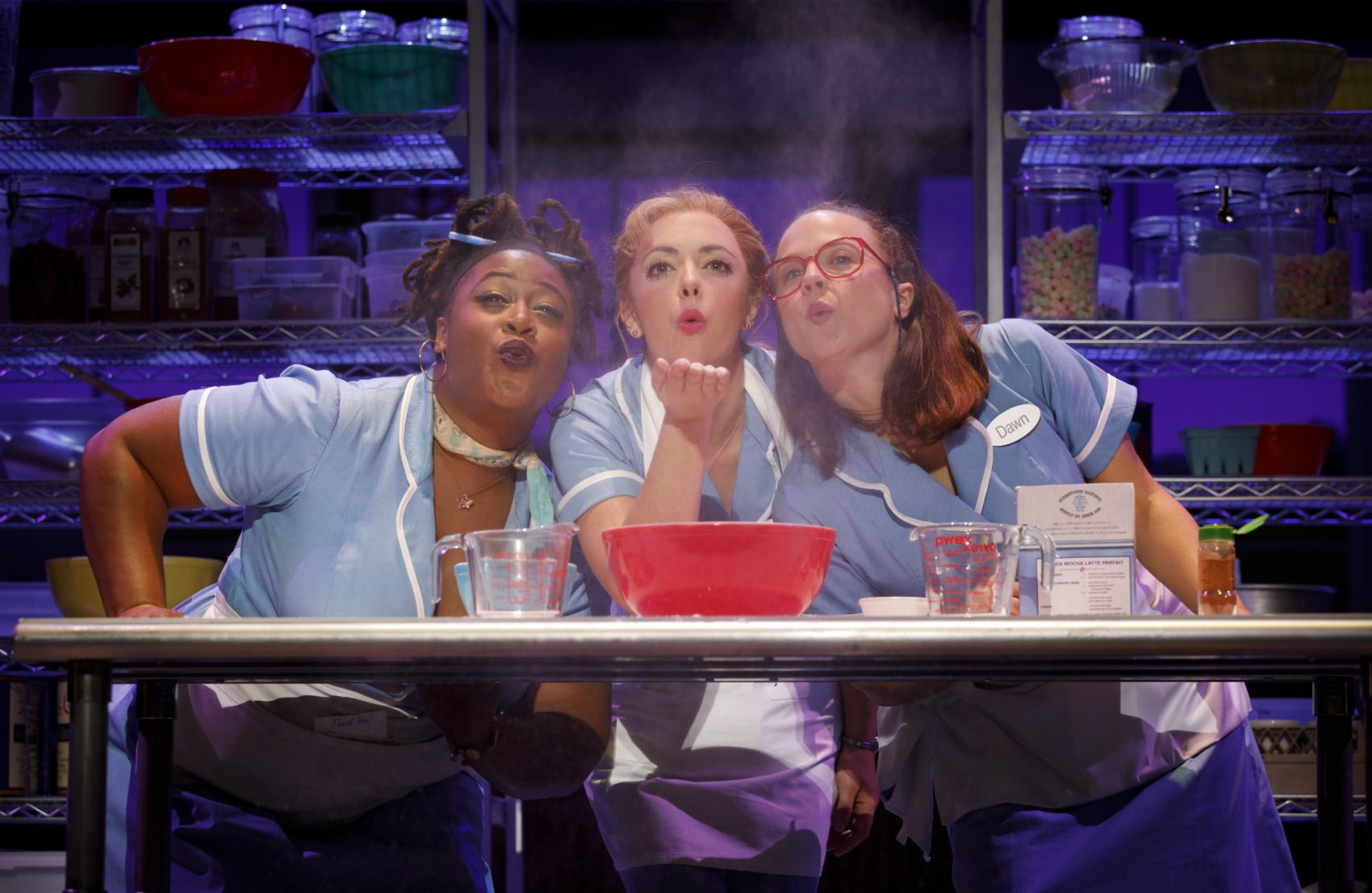 "Charity Angel Dawson, Desi Oakley and Lenne Klingaman in the national tour of ""Waitress."" (Courtesy Joan Marcus)"