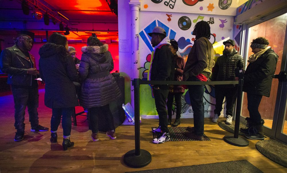 Concertgoers line up at the entrance of Sonia in Cambridge on a recent evening. (Jesse Costa/WBUR)