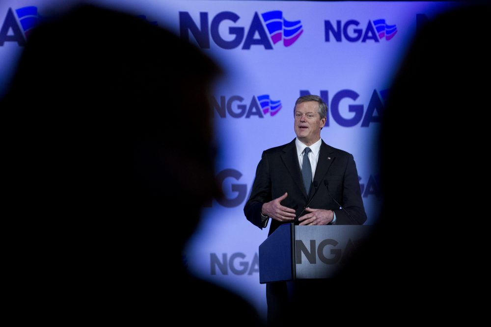 Gov. Charlie Baker speaks during a panel on the opioid crisis, at the National Governor Association 2018 winter meeting, on Saturday in Washington. (Jose Luis Magana/AP)