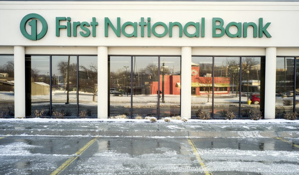 A First National Bank branch is seen in Omaha, Neb., Friday, Feb. 23, 2018. The Nebraska-based First National Bank of Omaha said Thursday they will not renew its contract to issue the group's National Rifle Association Visa Card, spokesman Kevin Langin said in a statement. (Nati Harnik/AP)