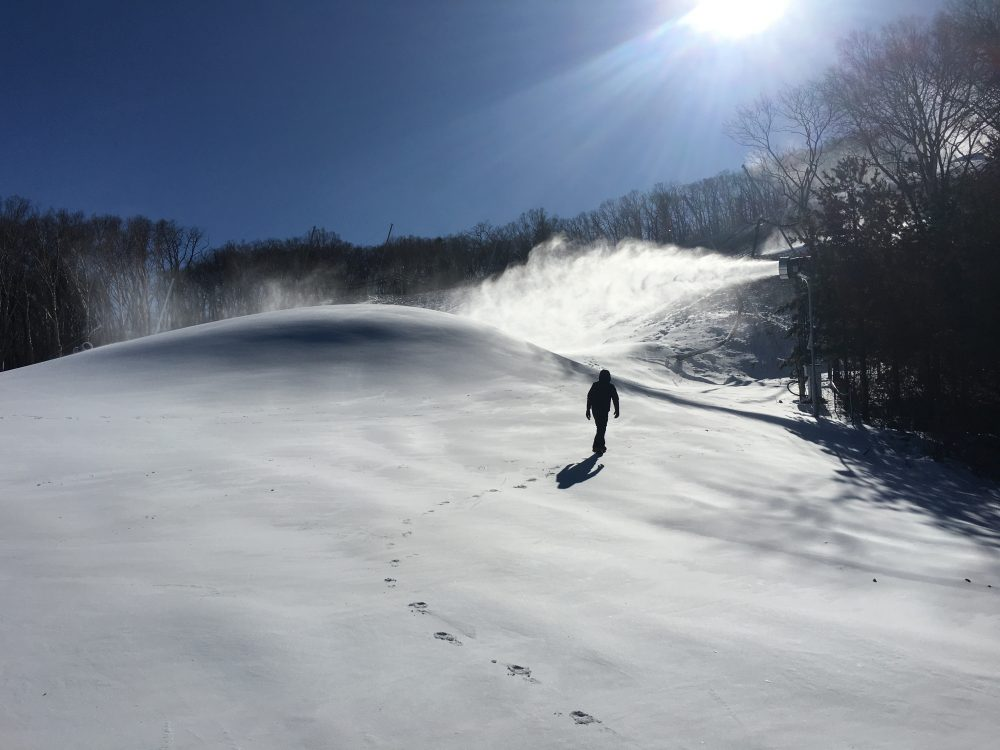 Snowmaking at the Pyeongchang Winter Games. (Courtesy Snow Machines, Inc.)
