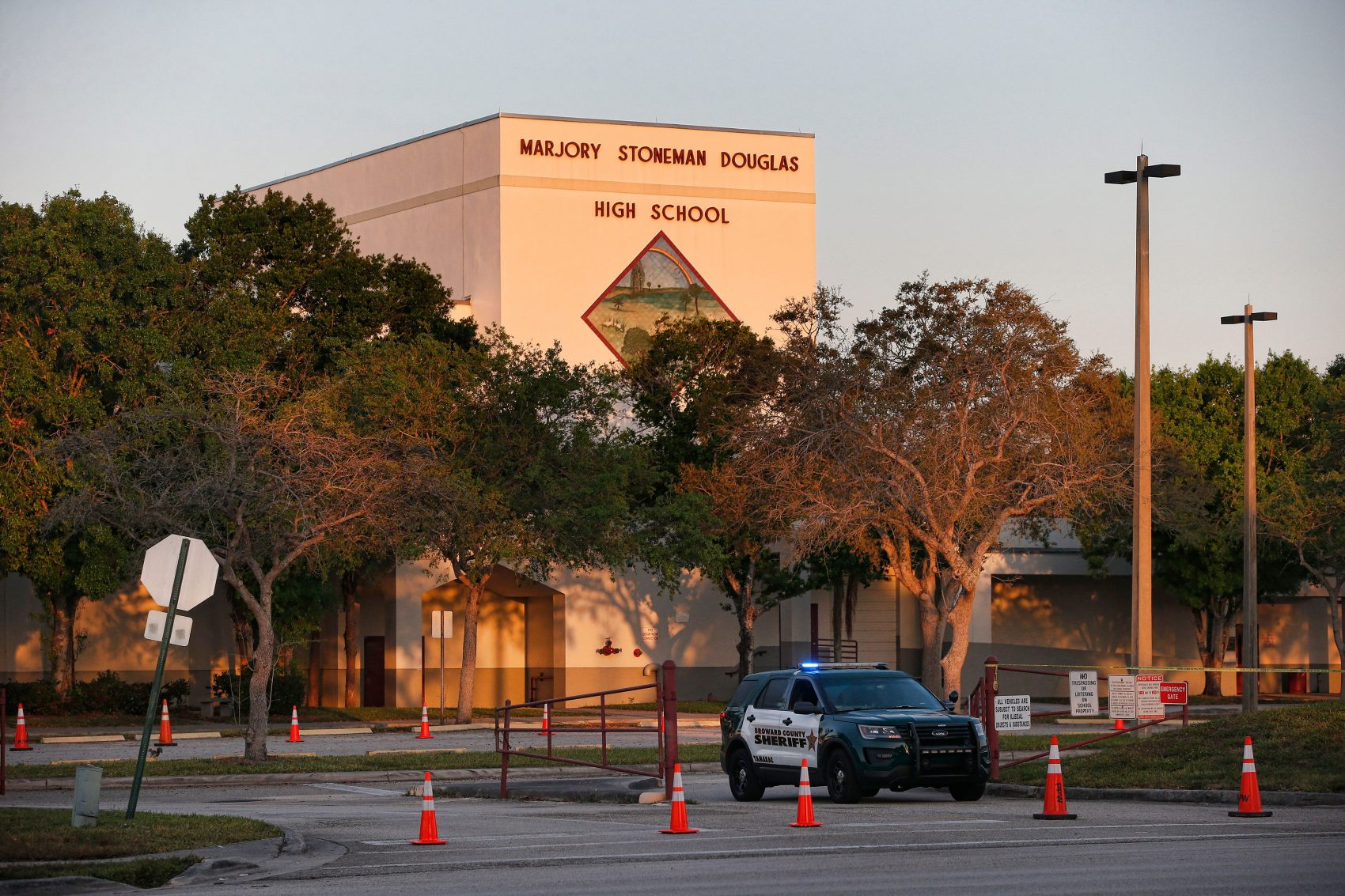 A general view of Marjory Stoneman Douglas High School as staff and teachers prepare for the return of students in Parkland, Florida on Feb. 27, 2018. (Rhona Wise/AFP/Getty Images)