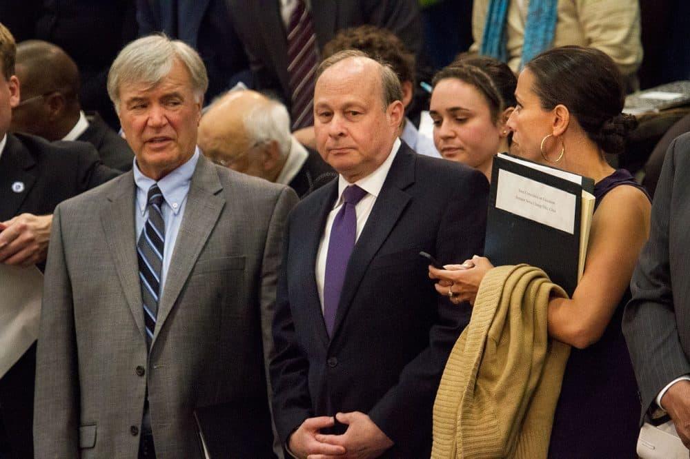 Sen. Stanley Rosenberg is at center. (Jesse Costa/WBUR)