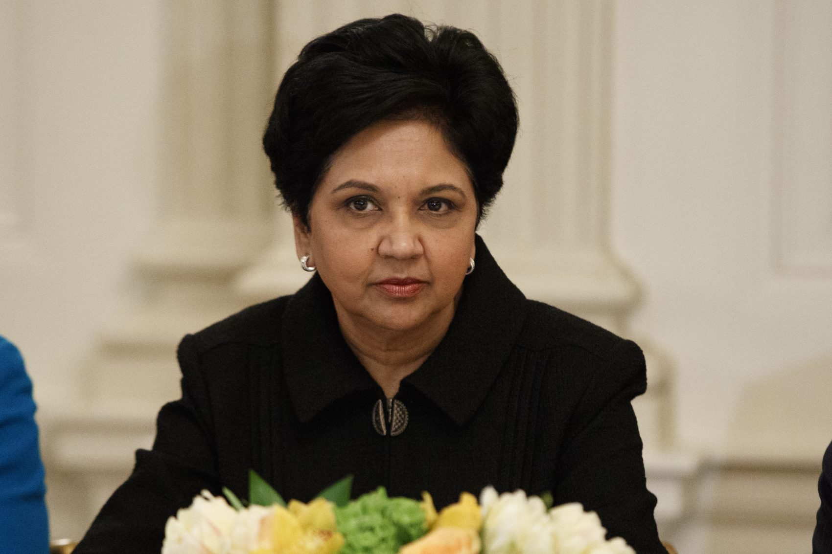 PepsiCo CEO Indra Nooyi listens during a meeting between President Donald Trump and business leaders in the State Dining Room of the White House in Washington, Friday, Feb. 3, 2017. (Evan Vucci/AP)