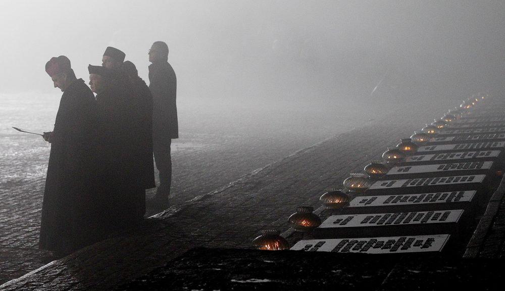 Representatives of various religious congregations gather at the former Nazi German concentration and extermination camp Auschwitz II-Birkenau, on International Holocaust Remembrance Day in Oswiecim, Poland, Saturday, Jan. 27, 2018. (Czarek Sokolowski/AP)