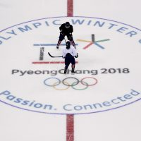 The joint Korean women's ice hockey players train prior to the 2018 Winter Olympics in Gangneung, South Korea, Monday, Feb. 5, 2018. (Jae C. Hong/AP)