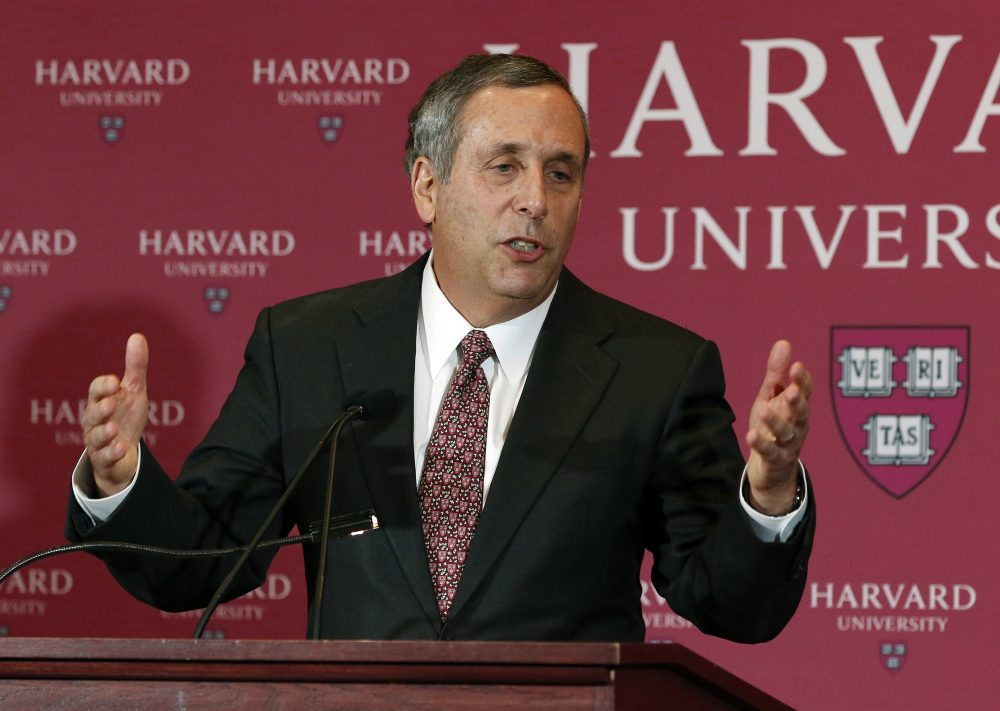 Lawrence Bacow speaks after being introduced Sunday as the 29th president of Harvard University. (Bill Sikes/AP)