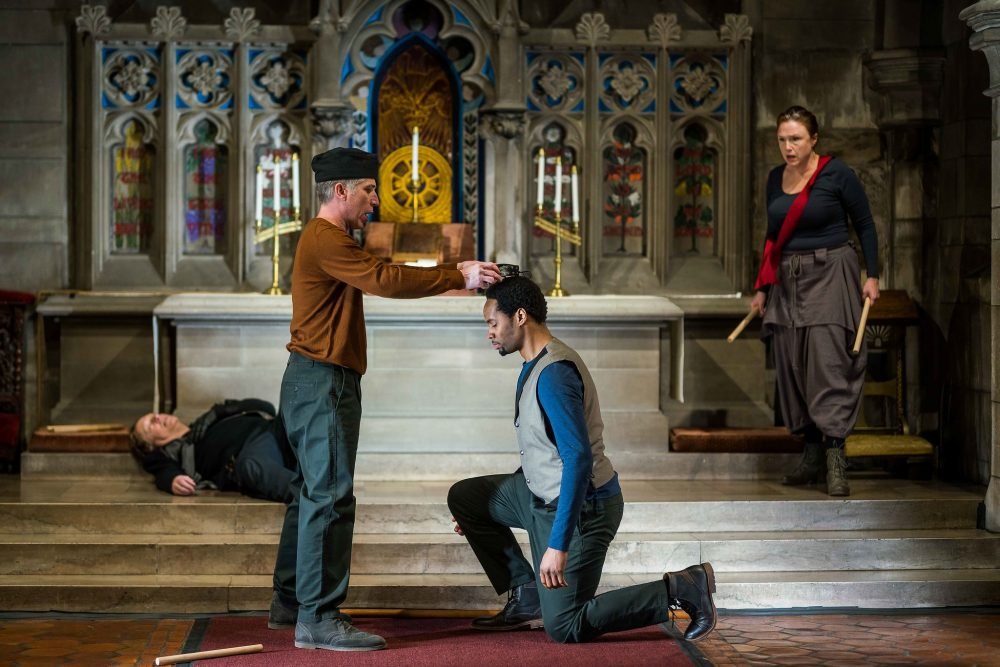 Steven Barkhimer, Michael Forden Walker, Deaon Griffin-Pressley and Jennie Israel perform in the Actors' Shakespeare Project's Richard III at Swedenborg Chapel in Cambridge. (Nile Scott Shots)