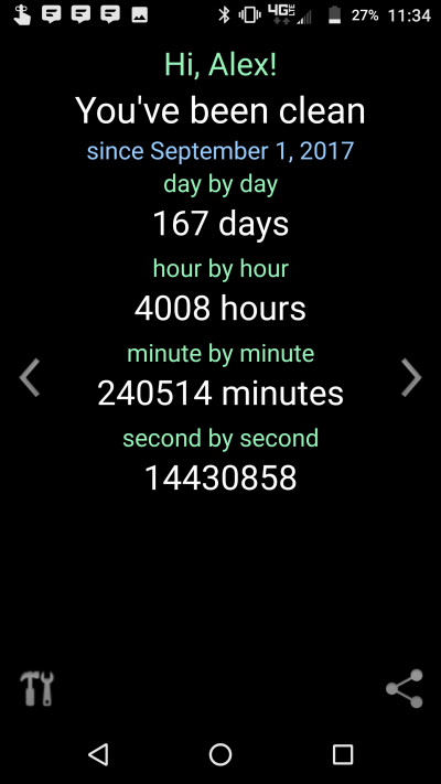 A screenshot from Alex's app that tracks how many days he's been clean.