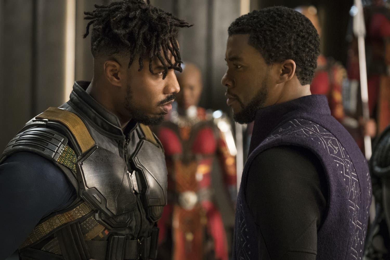 "This image released by Disney shows Michael B. Jordan, left, and Chadwick Boseman in a scene from Marvel Studios' ""Black Panther."" (Matt Kennedy/Marvel Studios-Disney via AP)"