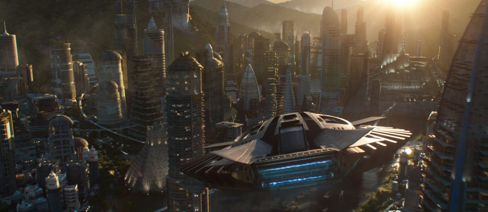 "A Talon Fighter over Wakanda in ""Black Panther."" (Courtesy Film Frame/Marvel Studios)"