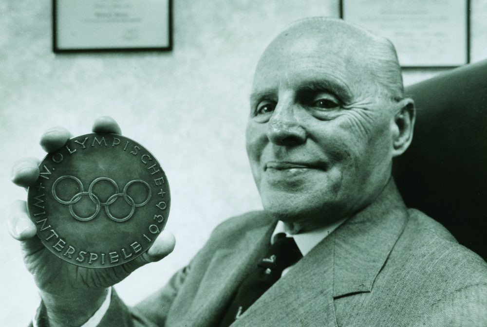 Francis Baker, pictured here in 1992 with his Olympic medal, found himself in Germany when the U.S. hockey team needed a reserve goalie. (Courtesy Hamilton College)