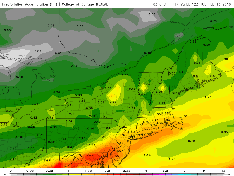 The GFS model is forecasting over an inch of rain Sunday. (Courtesy COD Weather)