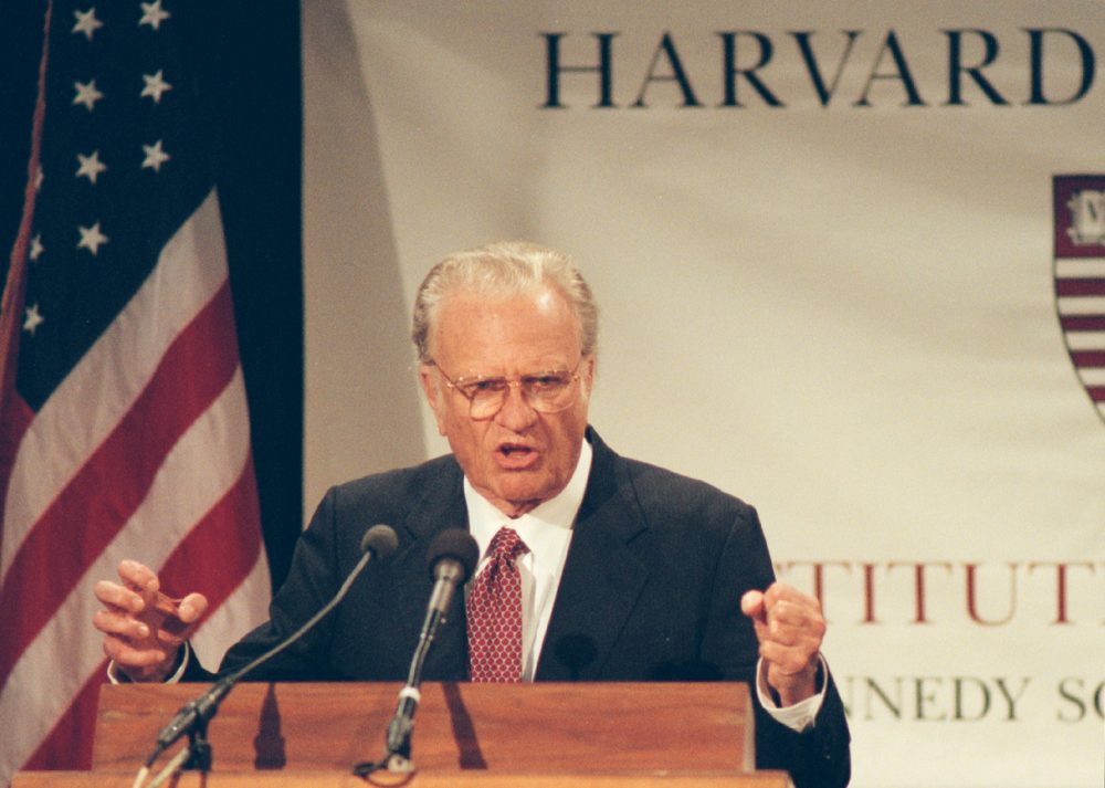 "The Rev. Billy Graham gave a public address titled ""Is God Relevant for the 21st Century"" at the Kennedy School of Government on Sept. 27, 1999. (Courtesy Harvard University)"