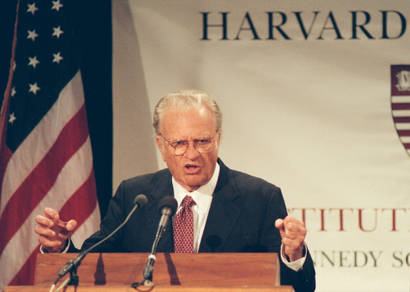 """The Rev. Billy Graham gave a public address titled """"Is God Relevant for the 21st Century"""" at the Kennedy School of Government on Sept. 27, 1999. (Courtesy Harvard University)"""