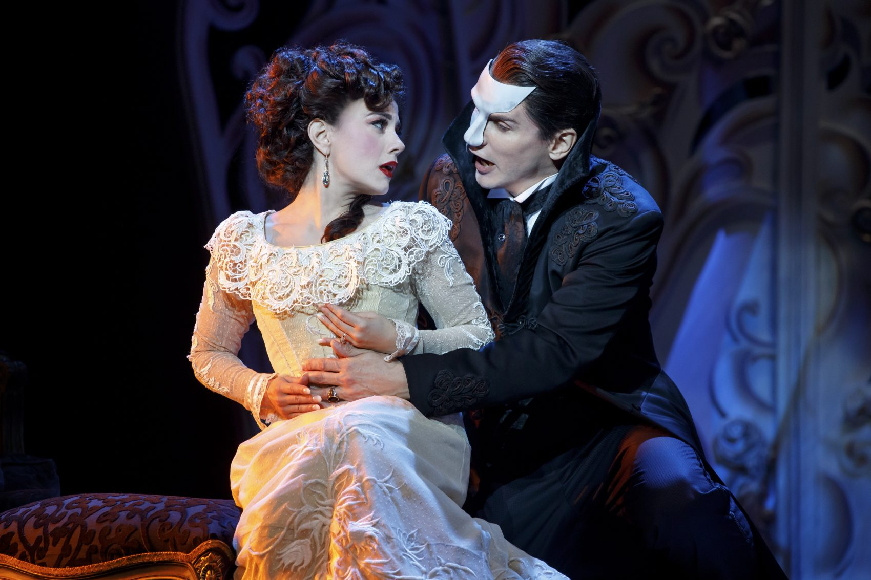 "Meghan Picerno and Gardar Thor Cortes in ""Love Never Dies."" (Courtesy Joan Marcus/Broadway In Boston)"