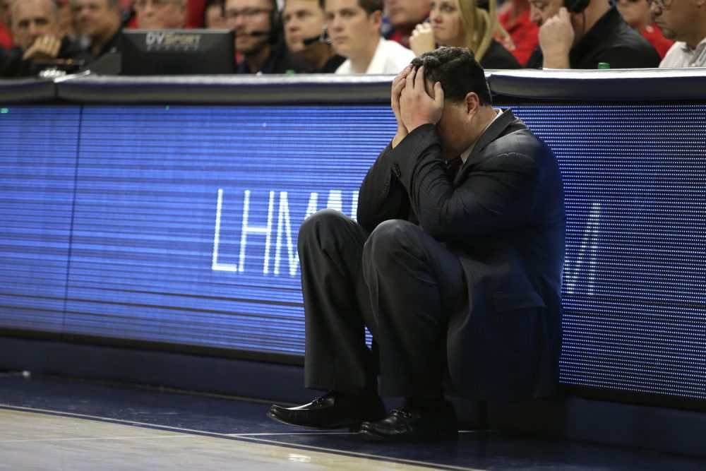 Arizona head coach Sean Miller in the first half during an NCAA college basketball game against Oregon, Saturday, Jan. 13, 2018, in Tucson, Ariz. (AP Photo/Rick Scuteri)
