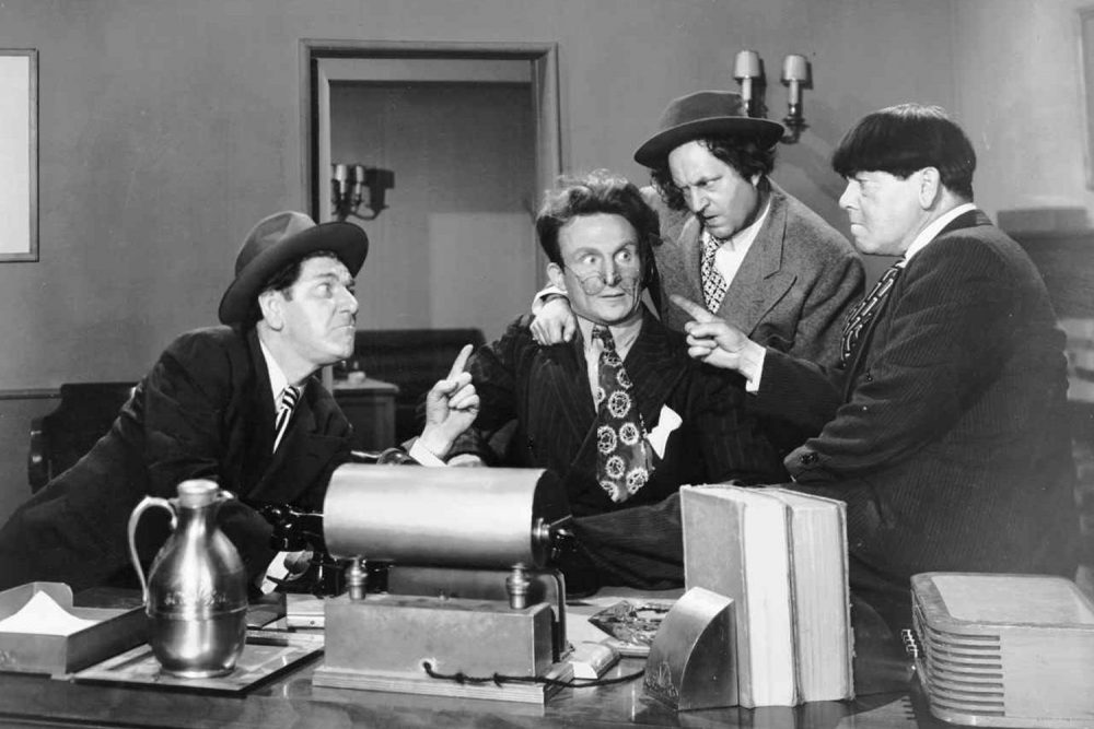 Emil Sitka, second from left, is shown in an undated studio handout photo with the Three Stooges, from left, Shemp Howard, Larry Fine and Moe Howard. (AP Photo/Ventura County Star)