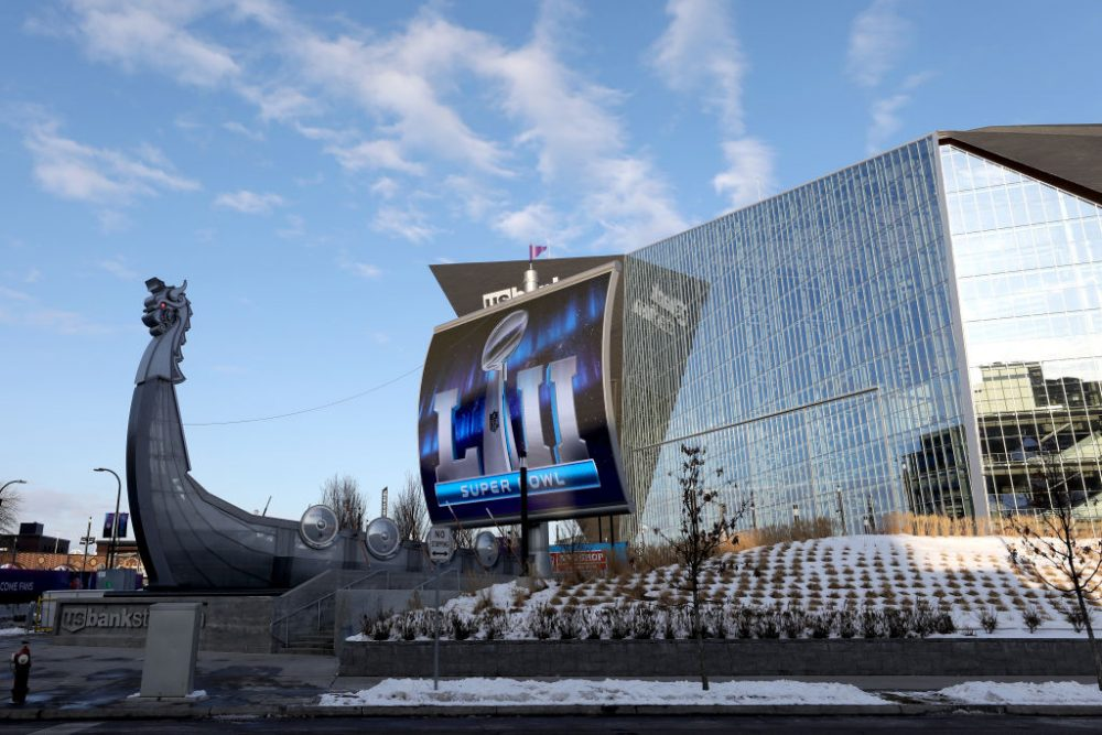 MINNEAPOLIS, MN - JANUARY 31: A general view of US Bank Stadium on January 31, 2018 in Minneapolis, Minnesota. Super Bowl LII will be played between the New England Patriots and the Philadelphia Eagles on February 4.  (Photo by Rob Carr/Getty Images)