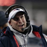 New England Patriots offensive coordinator Josh McDaniels watches from the sideline during the second half of an NFL divisional playoff football game against the Tennessee Titans, Saturday, Jan. 13, 2018, in Foxborough, Mass. (AP Photo/Charles Krupa)