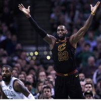 Cleveland Cavaliers forward LeBron James calls for the ball during the second quarter of an NBA basketball game in Boston, Wednesday, Jan. 3, 2018. (AP Photo/Charles Krupa)
