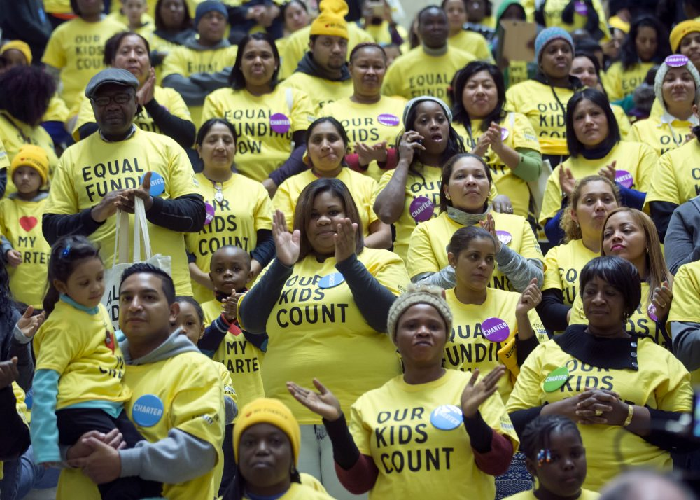 Supporters of charter schools rally in Albany, N.Y. in January 2016, as part of an event planned by Families for Excellent Schools. (Mike Groll/AP)