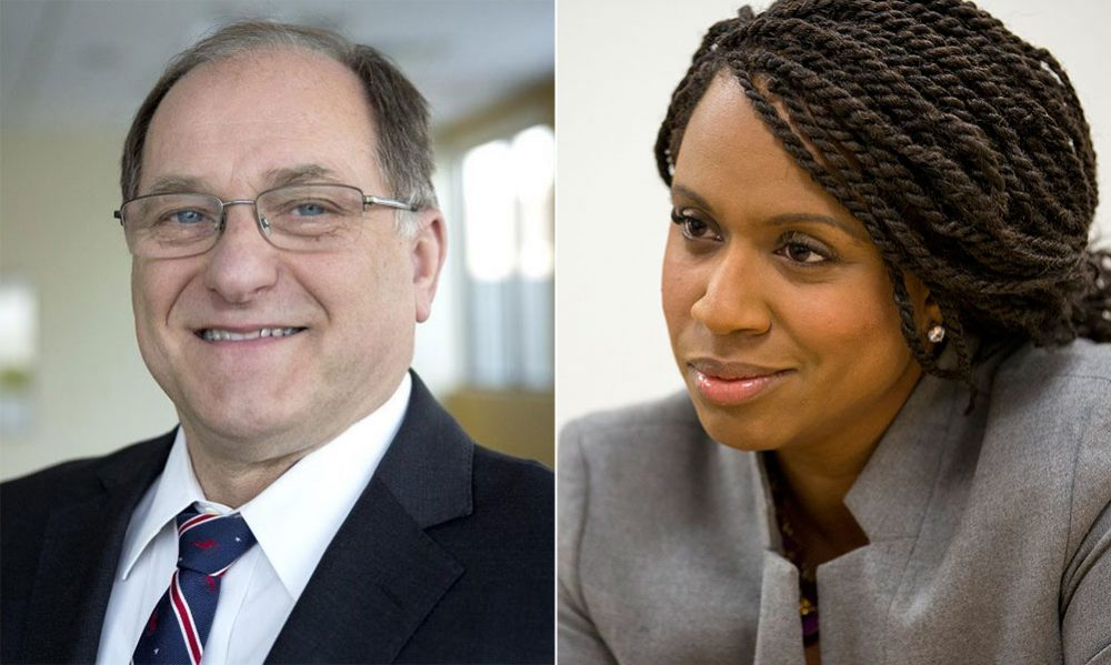 U.S. Rep. Michael Capuano and his Democratic challenger, Boston City Councilor Ayanna Pressley (Robin Lubbock, Jesse Costa/WBUR)
