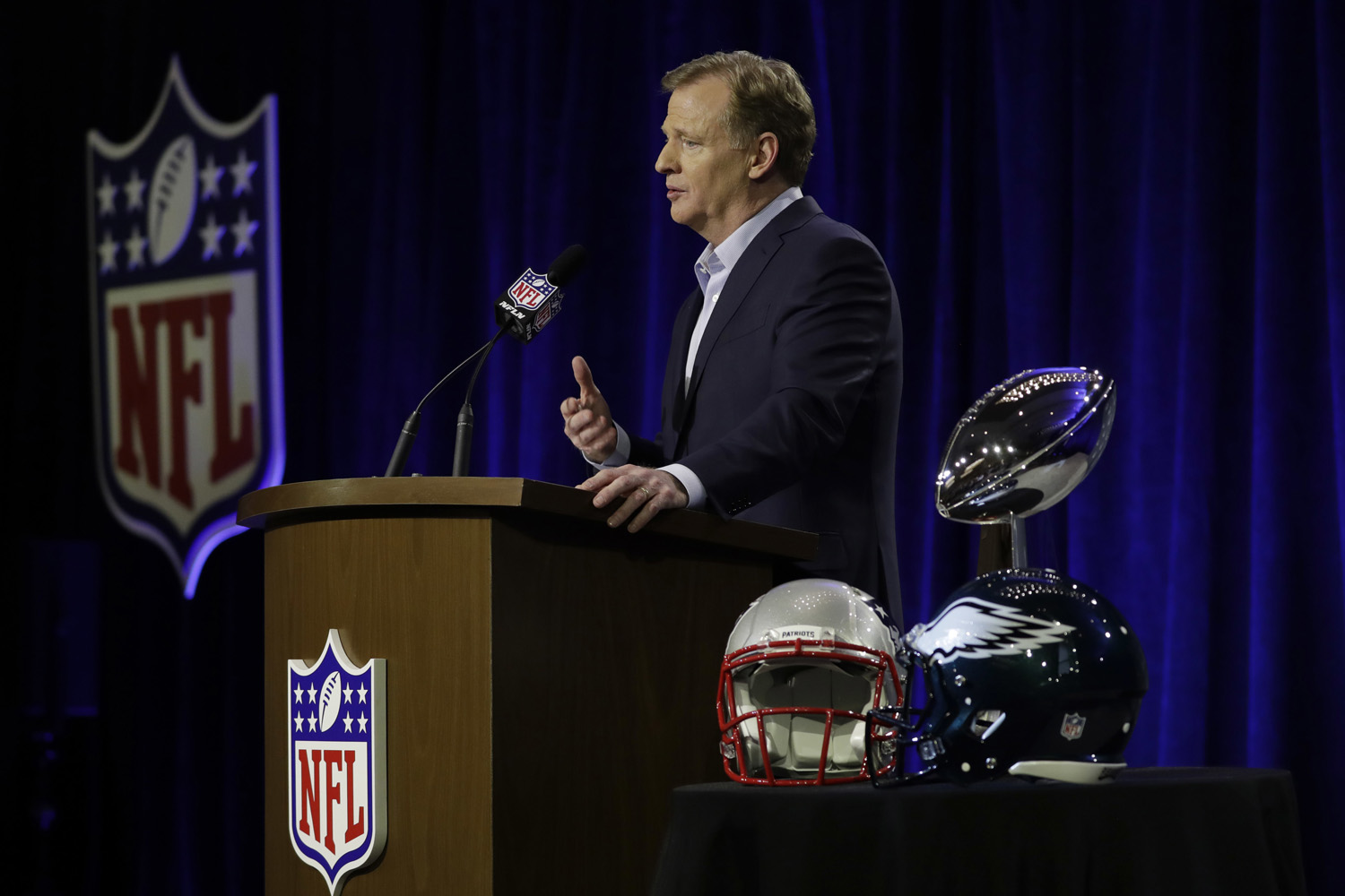 NFL Commissioner Roger Goodell speaks during a news conference in advance of the Super Bowl 52 football game, Wednesday, Jan. 31, 2018, in Minneapolis. (AP Photo/Matt Slocum)