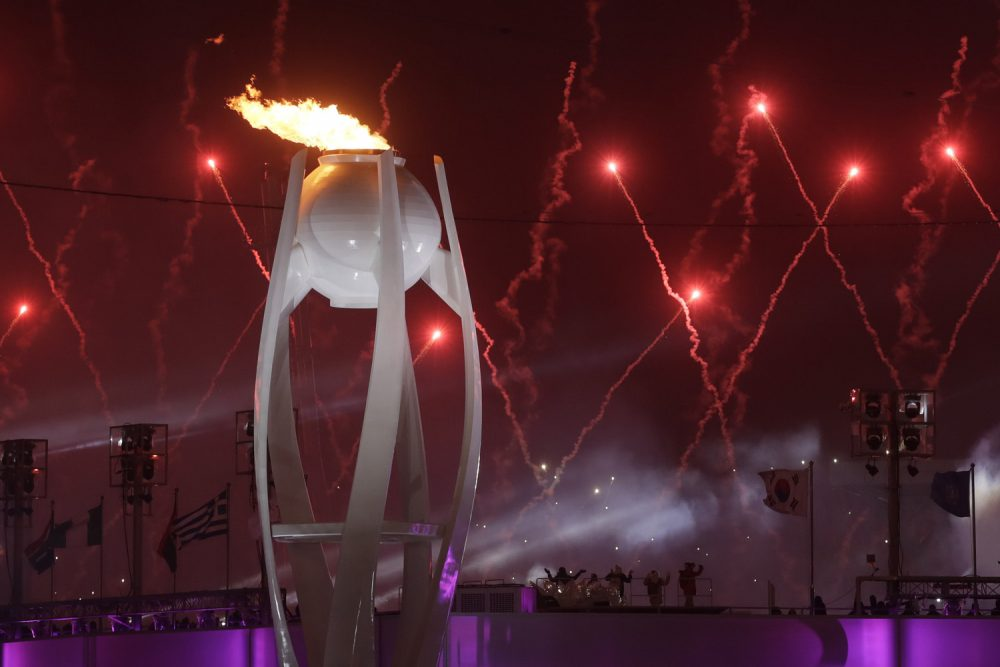 Fireworks explode over the Olympic Stadium during the opening ceremony at the 2018 Winter Olympics in Pyeongchang, South Korea, Friday, Feb. 9, 2018. (AP Photo/Dmitri Lovetsky)