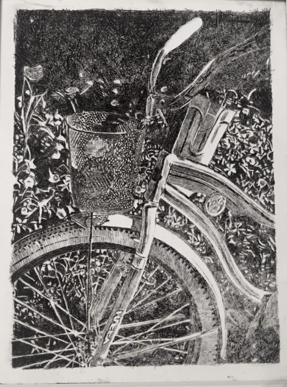 mackinaw island bike rides; drypoint print 8x12in (u/leahmarie315)