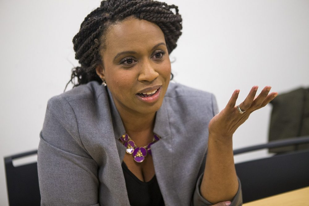 Boston City Councillor and candidate for the 7th Congressional district Ayanna Pressley speaking at her campaign office in Boston. (Jesse Costa/WBUR)