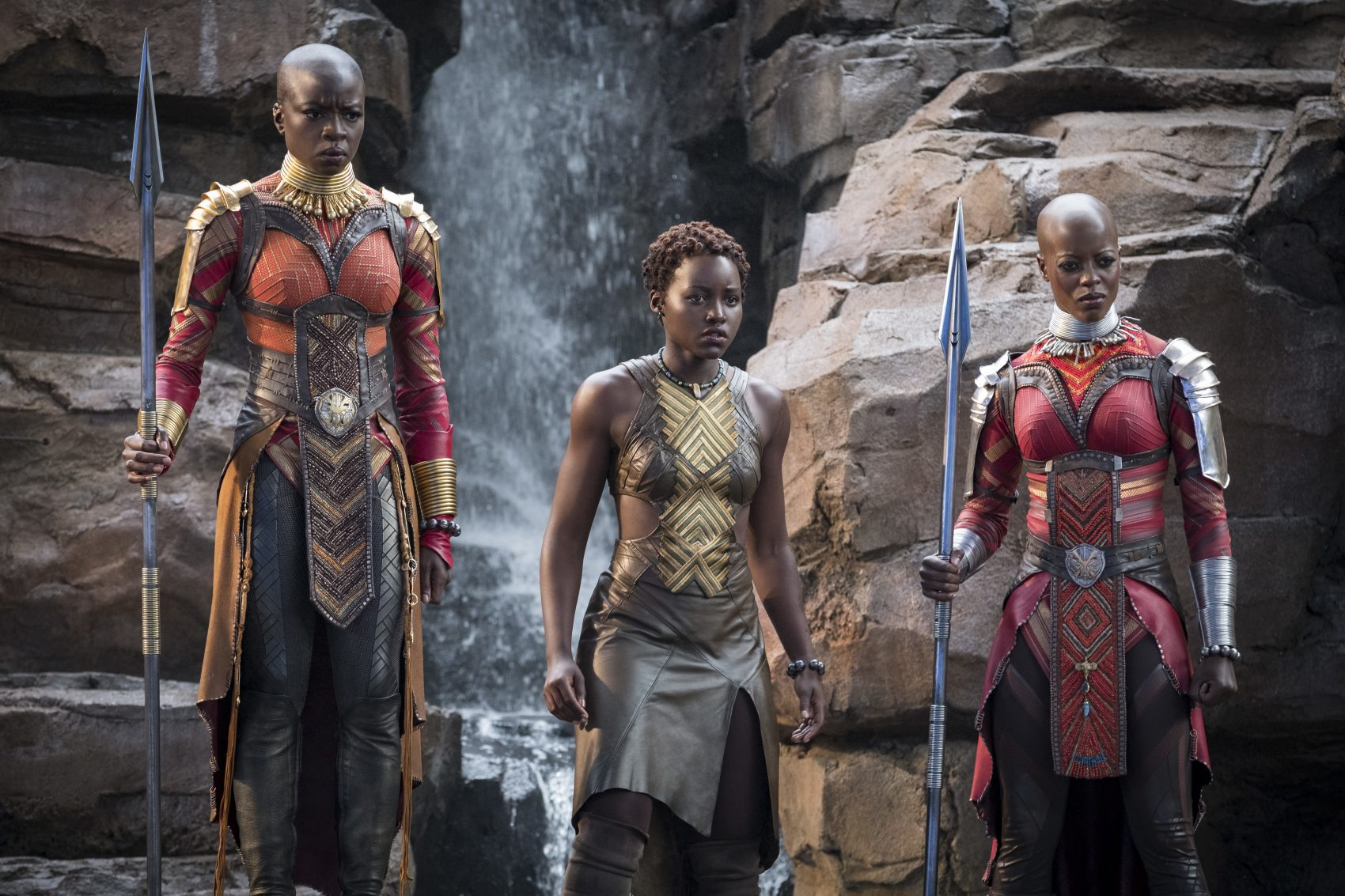 "This image released by Disney-Marvel Studios shows, from left, Danai Gurira, Lupita Nyong'o and Florence Kasumba in a scene from ""Black Panther."" Gurira says the representation of women in ""Black Panther"" is important for young girls to see. (Matt Kennedy/Disney/Marvel Studios via AP)"