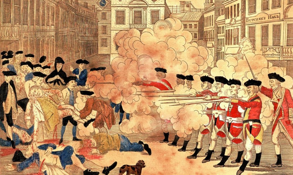 Paul Revere's engraving of the events of the Boston Massacre on March 5, 1770.