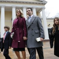 Donal Trump Jr., wife Vanessa Trump, and their children Donald Trump III, left, and Kai Trump, right, walk out together after attending church service at St. John's Episcopal Church across from the White House in Washington on Jan. 20, 2017. (Pablo Martinez Monsivais/AP)
