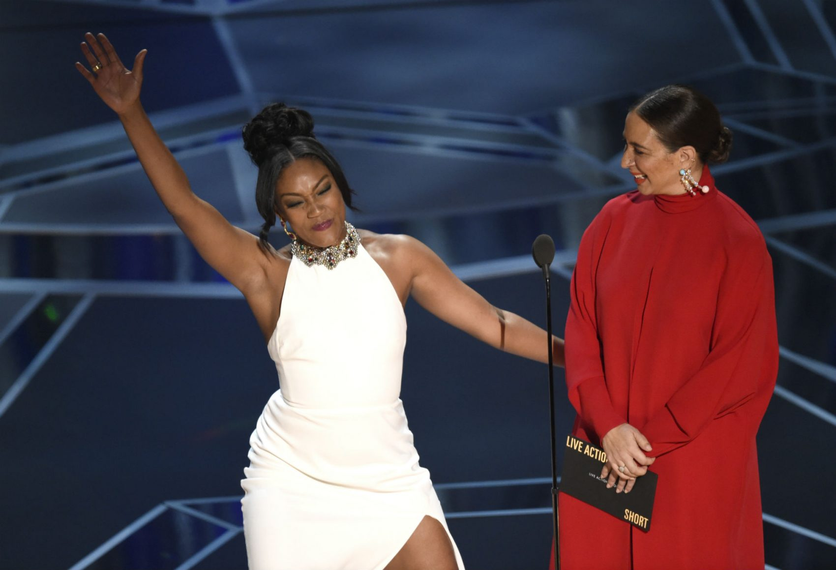 Tiffany Haddish, left, and Maya Rudolph present the award for best documentary short subject. (Chris Pizzello/Invision/AP)