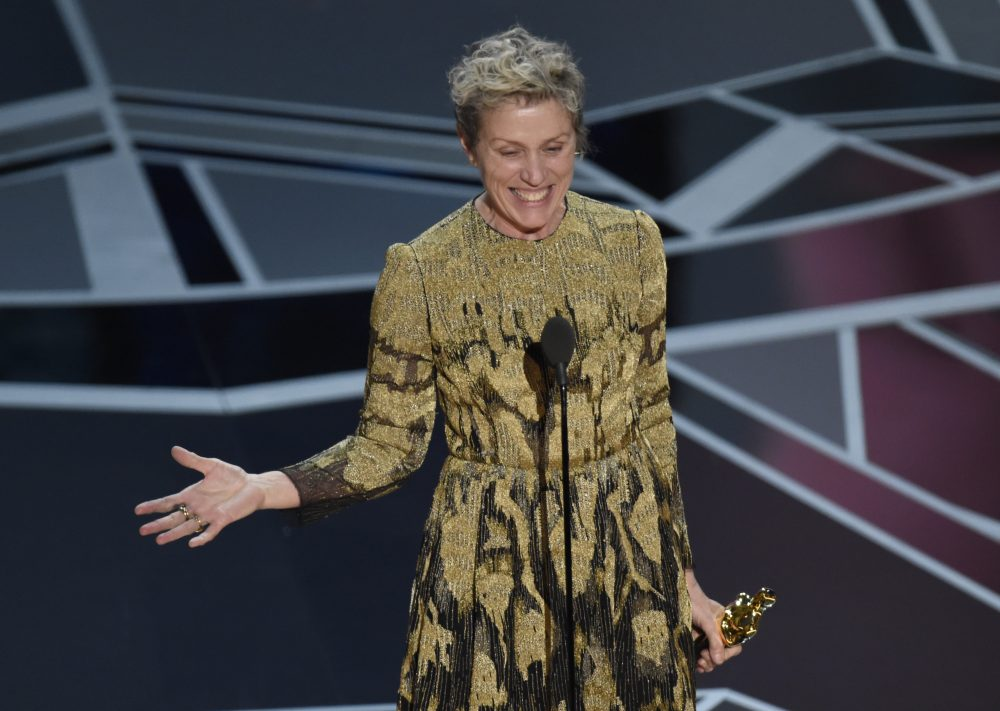"Frances McDormand accepts the award for best performance by an actress for ""Three Billboards Outside Ebbing, Missouri."" (Chris Pizzello/Invision/AP)"