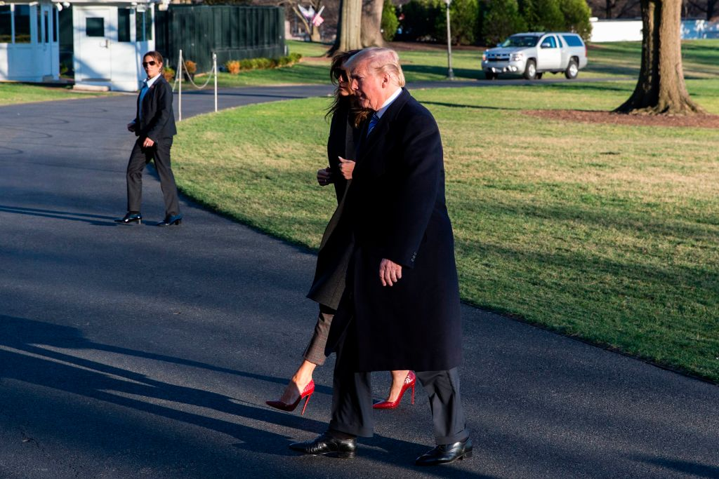 President Trump and first lady Melania Trump arrive at the White House on Marine One on March 3, 2018. (Alex Edelman/AFP/Getty Images)