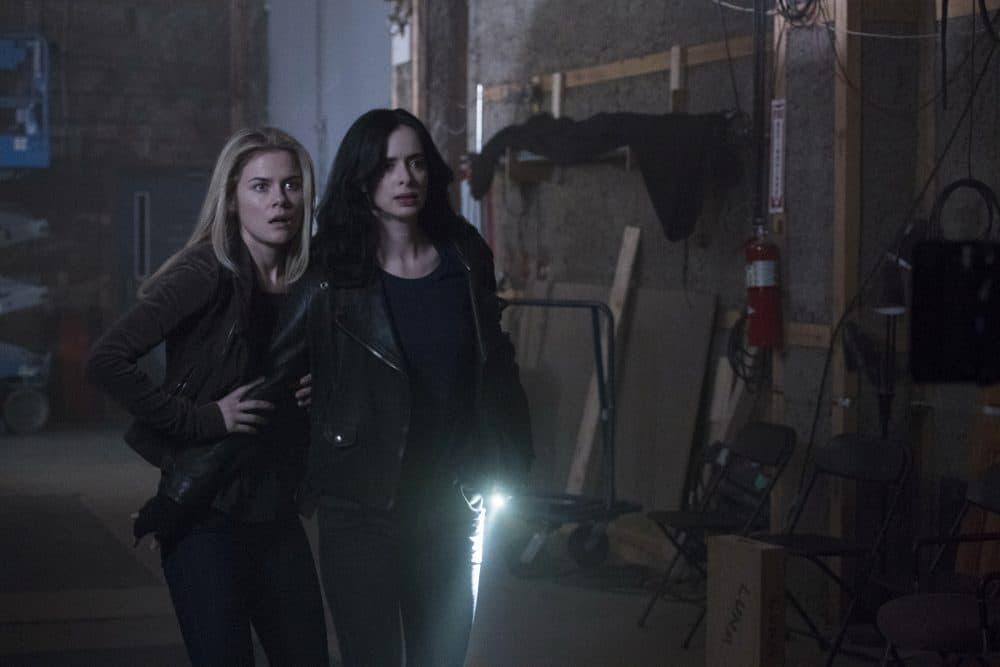 "Rachael Taylor as Trish Walker and Krysten Ritter as Jessica Jones in ""Jessica Jones."" (Courtesy Netflix)"