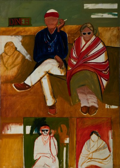 "T.C. Cannon's ""Mama and Papa Have The Going Home Shiprock Blues,"" painted in 1966. (Courtesy Addison Doty/Institute of American Indian Arts, Museum of Contemporary Native Arts, Estate of T.C. Cannon)"